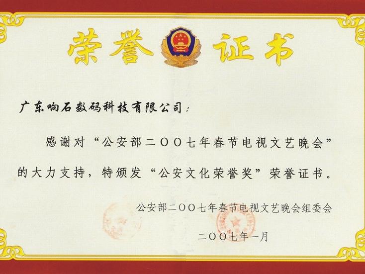 217 2007年公安文化荣誉奖证书
